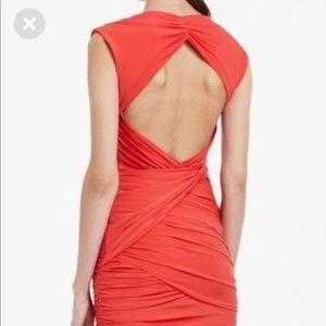 BCBG MAX AZRIA Coral Ruched Backless Dress
